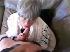 Old gray haired woman eats a dick and gets fucked