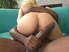 Hot blonde takes a big black cock