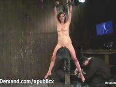 Bound brunette babe impaled on sybian