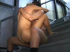 Amateur German MILF fucks older black on back stairs