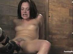 Tied legs brunette fucking with drill and squirts