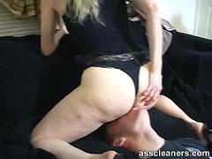 Mistress sits right on ass cleaners face for ass licking
