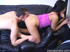Man cleans up hot mistress dirty ass hole by licking it all up