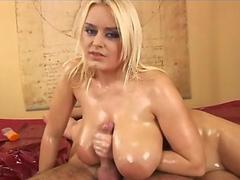 Big Busty Blonde with Huge Naturals Gives Oily Tit Wank