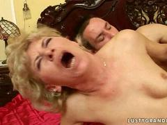 Granny enjoys hard sex with young boy