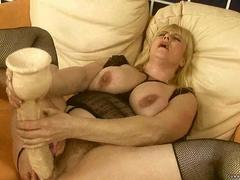 Granny toying her wet pussy
