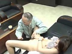 Secretary getting her hairy pussy fingered and licked by her old boss in the office video