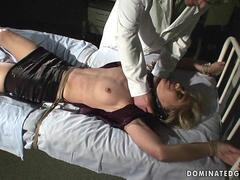 Hot blonde enjoys bondage and hard sex
