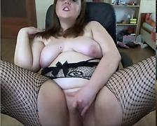 horny chubby british slut masturbates on webcam