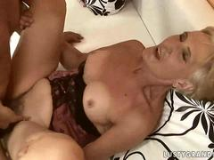 Dude fucks a short haired tanned granny hard