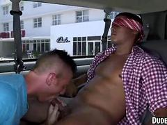 Straight Asian hunk getting his cock sucked in a van