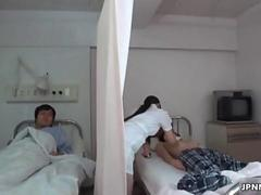 Japanese nurse gets naughty with a horny
