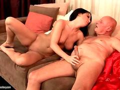Teen babe falls down on top of a big dick