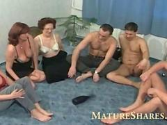 Horny grannies playing spin the blowjob bottle
