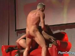Threesome fuck orgy on a public stage gets wild