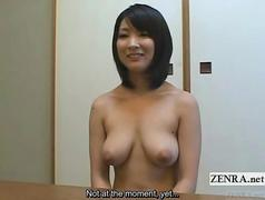 Subtitled busty nudist Japanese housewife interview