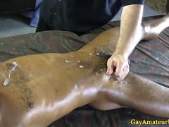 Black jock blows his load after a handjob