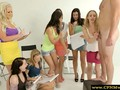 CFNM group of femdoms humiliating sub by tugging