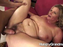 Hairy granny gives up her cunt for a younger dude