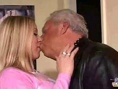 Sleaze blonde threesomed two perv grandfathers