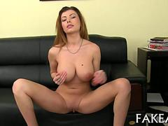 Sultry big boobs babe seduces a casting agent