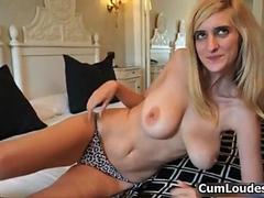 Busty blonde babe gets her tits groped and licked