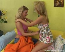 Angelic blonde busty lesbians sharing dildo