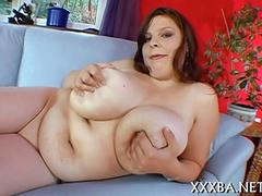 Captivating bbw babe gropes her fun bags