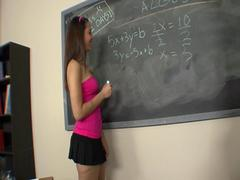 Brunette seduces teacher in the school and gets a nice facial