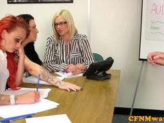 Femdom office lady Harmony Reigns tugging