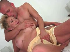 Young guy loves hot busty granny