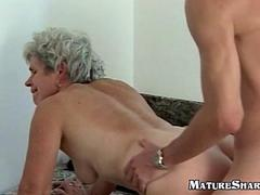 Hairy 70plus granny riding a young hard cock