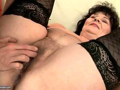 Fat granny gets her pussy and ass fucked