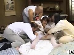 Asian nurse gets groped and stripped by old patients