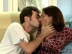 Brunette MILF tingling all over while smooching a young lover