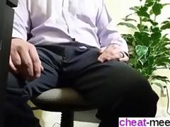 Office slut sucks off her Asian boss under the table