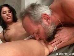 randy old man relocates between her crotch