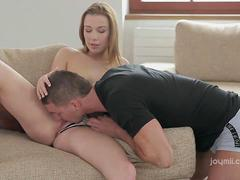 Creampie dripping from her fucked pussy