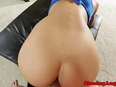 August Ames gets a facial in pov