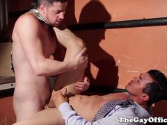 Suited hunk pounds latin colleagues ass