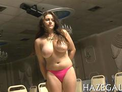 Big tits cutie pie strips for a hazing