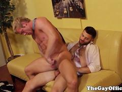 Office stud pounding tight ass before cumshot