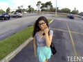 Nerdy teen Ava Taylor sucking some dick in a parking lot