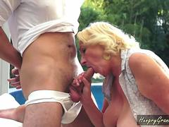 Delicious fat granny gets her shaved pussy fucked