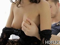 busty brunette has a nice time as shes seduced