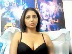 Busty Indian MILF stripping and showing off on web cam