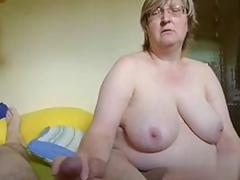 Big tits old blonde jacking off her man on camera