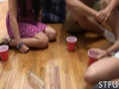 Big jock plays spin the bottle with horny college girls