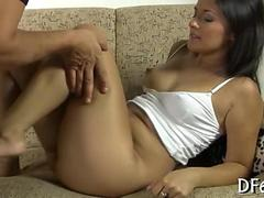 Amateur brunette spreads her legs for a missionary style fucking