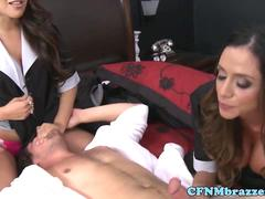 Dominating maids jerking and cockriding sub